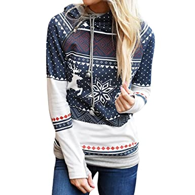 7eb74a8f3d5d9 Bluestercool Femmes Noël Imprimé Sweat à Capuche Manche Longue Sweatshirt (S,  Bleu)