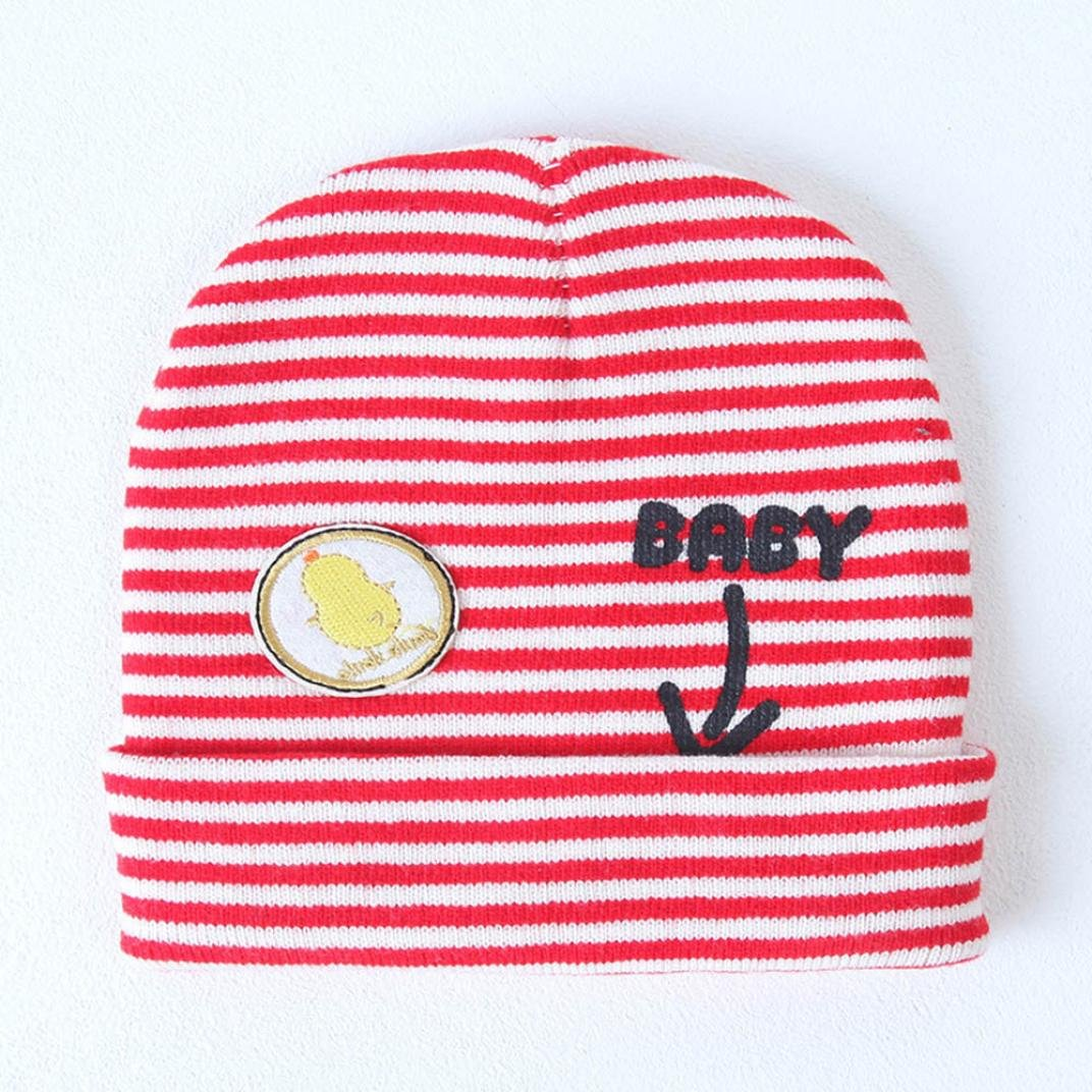 DIGOOD Toddler Baby Boys Girls Cotton Striped Print Beanie Hats,Suit for 1-3 Years Old Baby