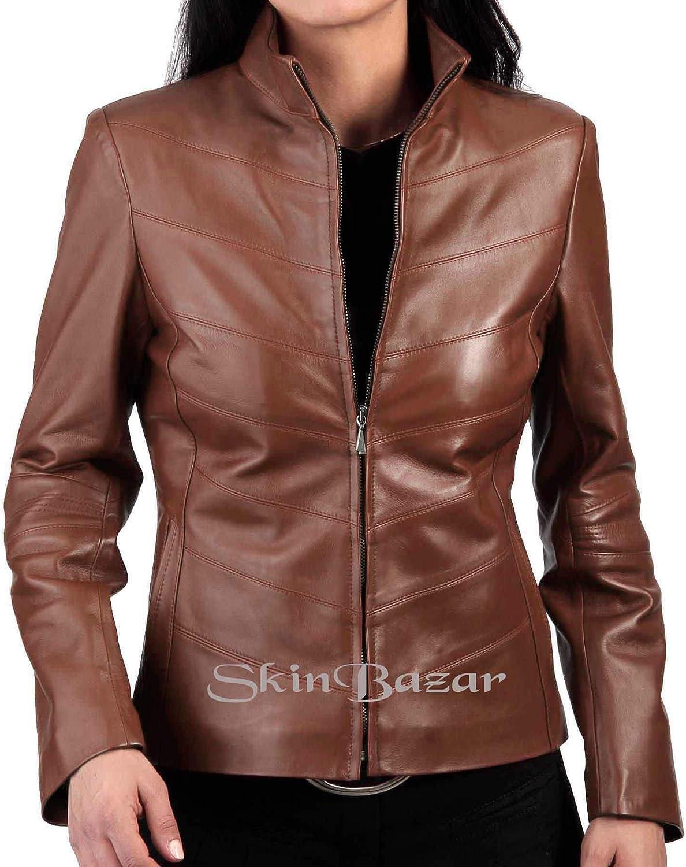Womens Leather Jackets Stylish Motorcycle Bomber Biker Real Lambskin Leather Jacket for Women 52