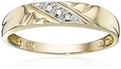 10k Yellow Gold Diagonal Diamond Womenu0027s Wedding Band (0.01 Cttw, I J  Color, I2