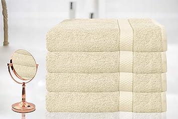 BellaCasa Casabella - Juego de 4 Toallas de baño (tamaño Grande, 100% algodón Egipcio Peinado), 100% algodón, Crema, 4 Bath Sheet: Amazon.es: Hogar
