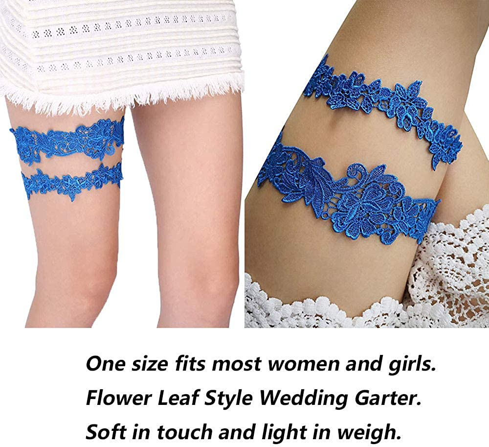 Kalolary Wedding Bridal Garter Belt Ruffled Organza with Satin Bow Heart Charm Elastic Garter Belt