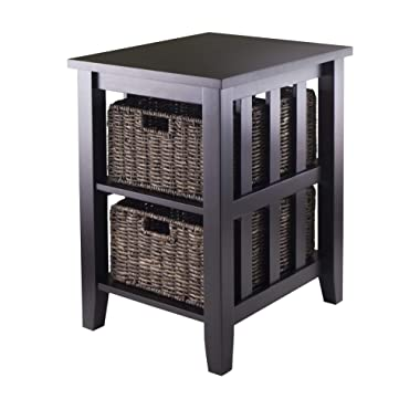 Winsome Morris Side Table with 2-Foldable Basket