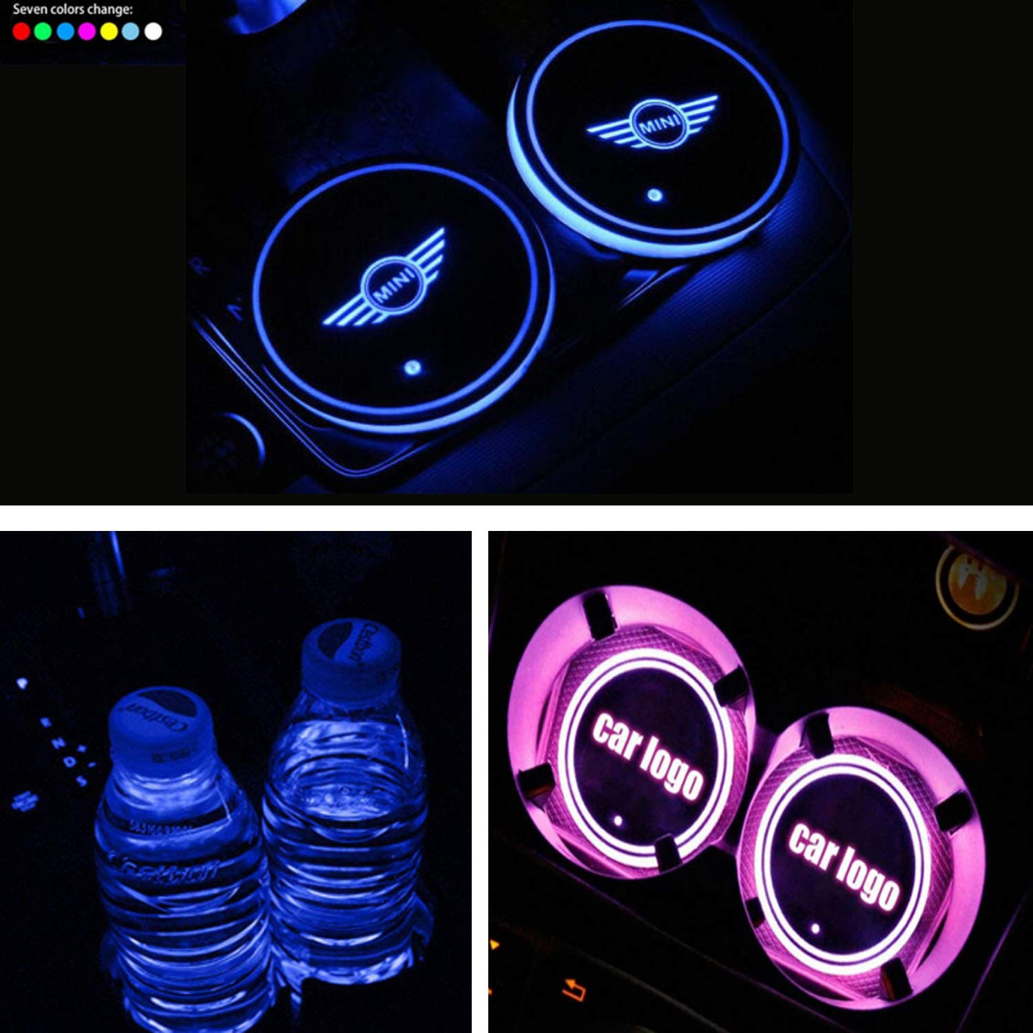 fit Audi Interestingcar LED Car Cup Holder Lights,LED Car Logo Cup Holder Pad Waterproof Bottle Drinks Coaster Built-in Light 7 Colors Changing USB Charging Mat LED Cup Mat Car Atmosphere Lamp 2PCS