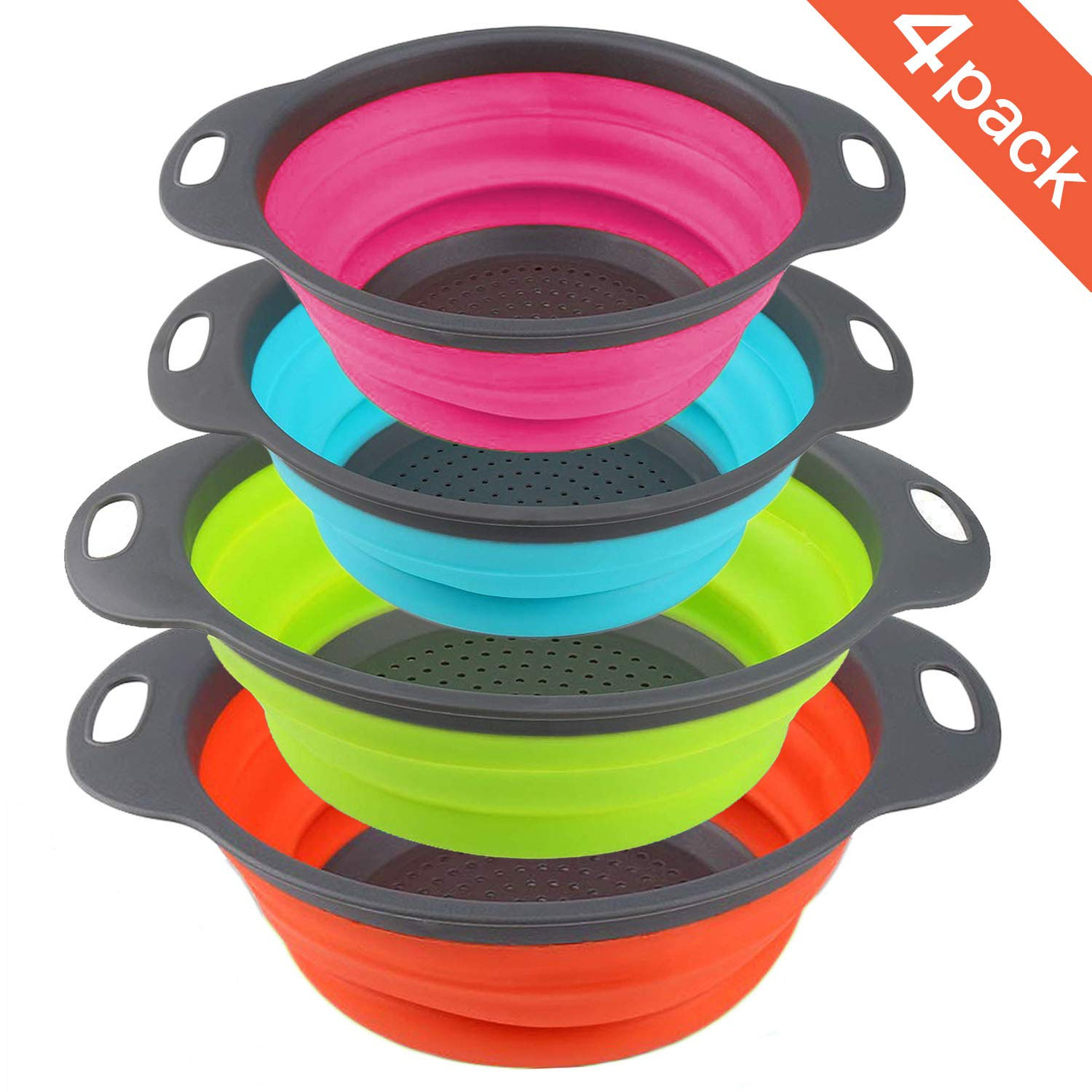 Farielyn-X Collapsible Colander Set of 4 Round Silicone Kitchen Strainer Set - 2 pcs 4 Quart and 2 pcs 2 Quart- Perfect for Draining Pasta, Vegetable and fruit (green, blue, orange, red)