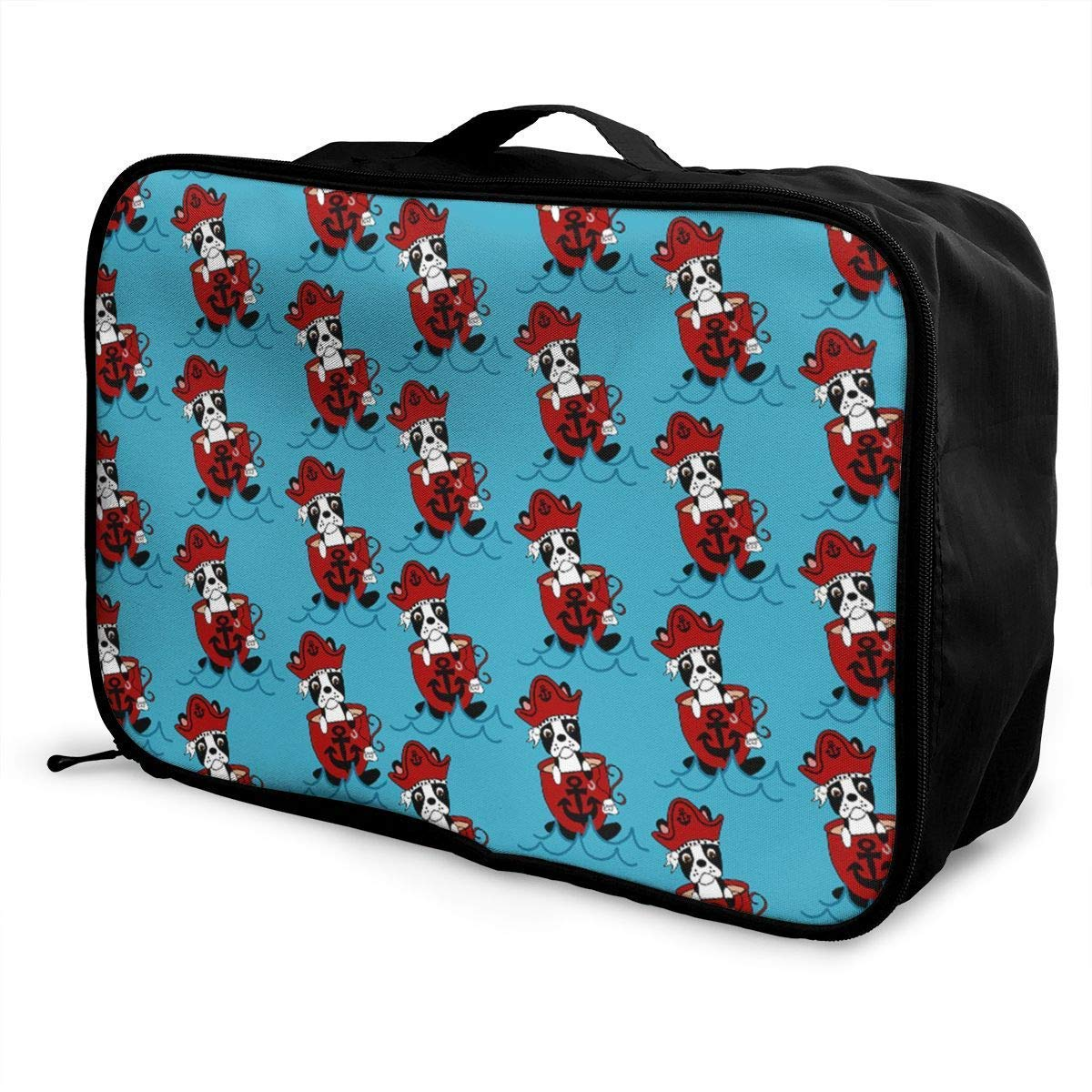 Portable Luggage Duffel Bag Boston Terrier Pirate Travel Bags Carry-on in Trolley Handle JTRVW Luggage Bags for Travel