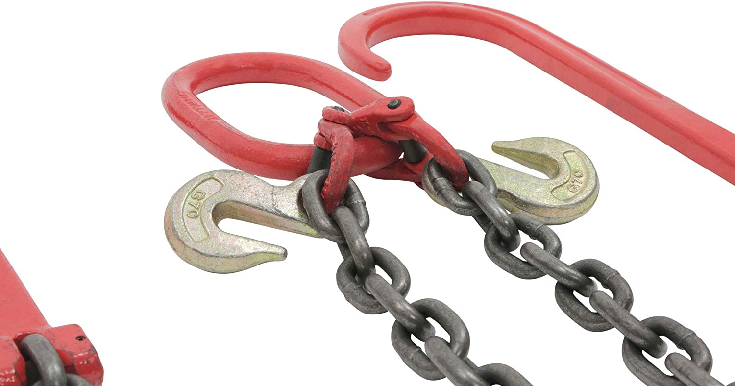 Two 15 J-Hook /& Eye Cradle Grab Hook Mytee Products Tow Recovery w// G80-3//8 x 3 Chain 7100# Lbs