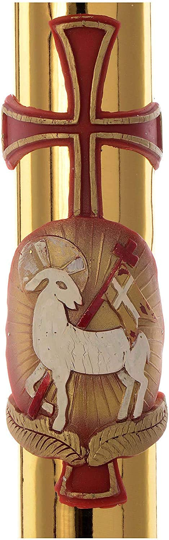 Holyart Cero Pasquale Agnello e Croce Fondo Dorato 8x120 cm