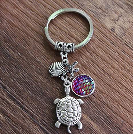 76cd931734 Buydee Retractable Metal Keychain Car Key Chain With Tortoise Shell Starfish  Retractable Key Buckle Keyfob Car