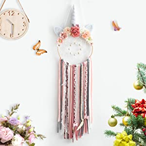 TEESHLY Unicorn Dream Catchers with Flowers, Handmade Woven Dreamcatchers for Wall Hanging Decoration Dream Catcher with Braids Ornament for Girls Kids (White Horn)