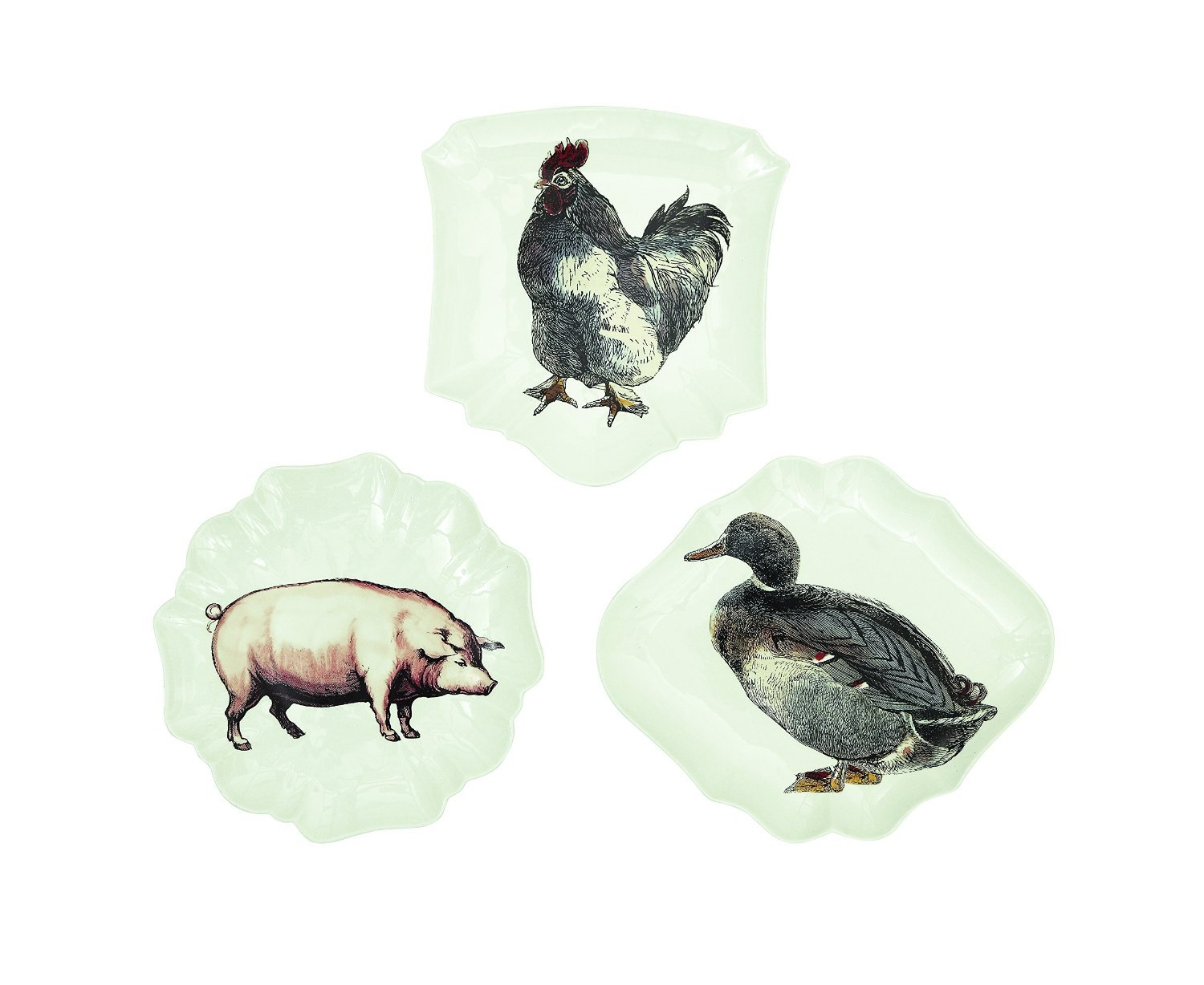 Creative Co-Op Medium Stoneware Plate Set with Animal Images, 10-Inch, Multicolor [並行輸入品]   B013D0YG6M