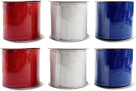 Patriotic Burlap Jute Ribbon 3-Rolls 6 Yds Each by 2.5 in Wide Red White Blue