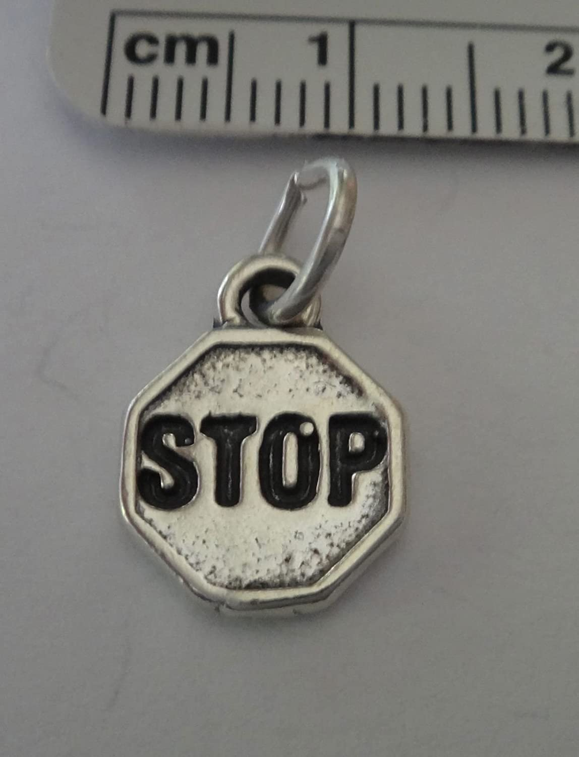 Sterling Silver 12mm Octagonal Street says Stop Sign Charm