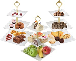 3Pcs White Square 3 Tiered Cake Stands, 3 Tier Serving Tray Cupcake Holder Dessert Stand Fruit Candy Display Table Decorations for Home Party Birthday Tea Party Baby Shower