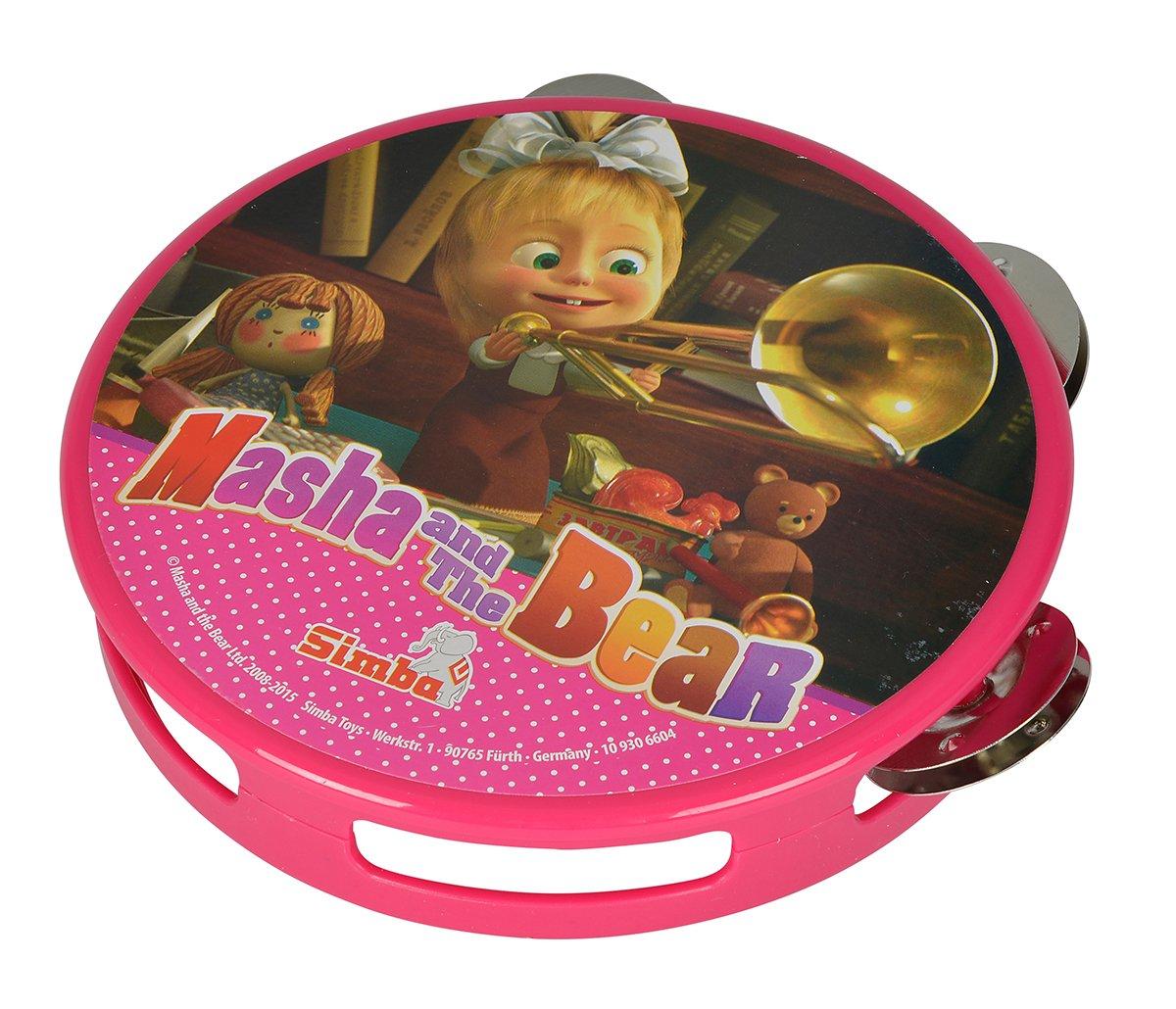 Simba 109306604 Mascha und der B/är Tamburin pink
