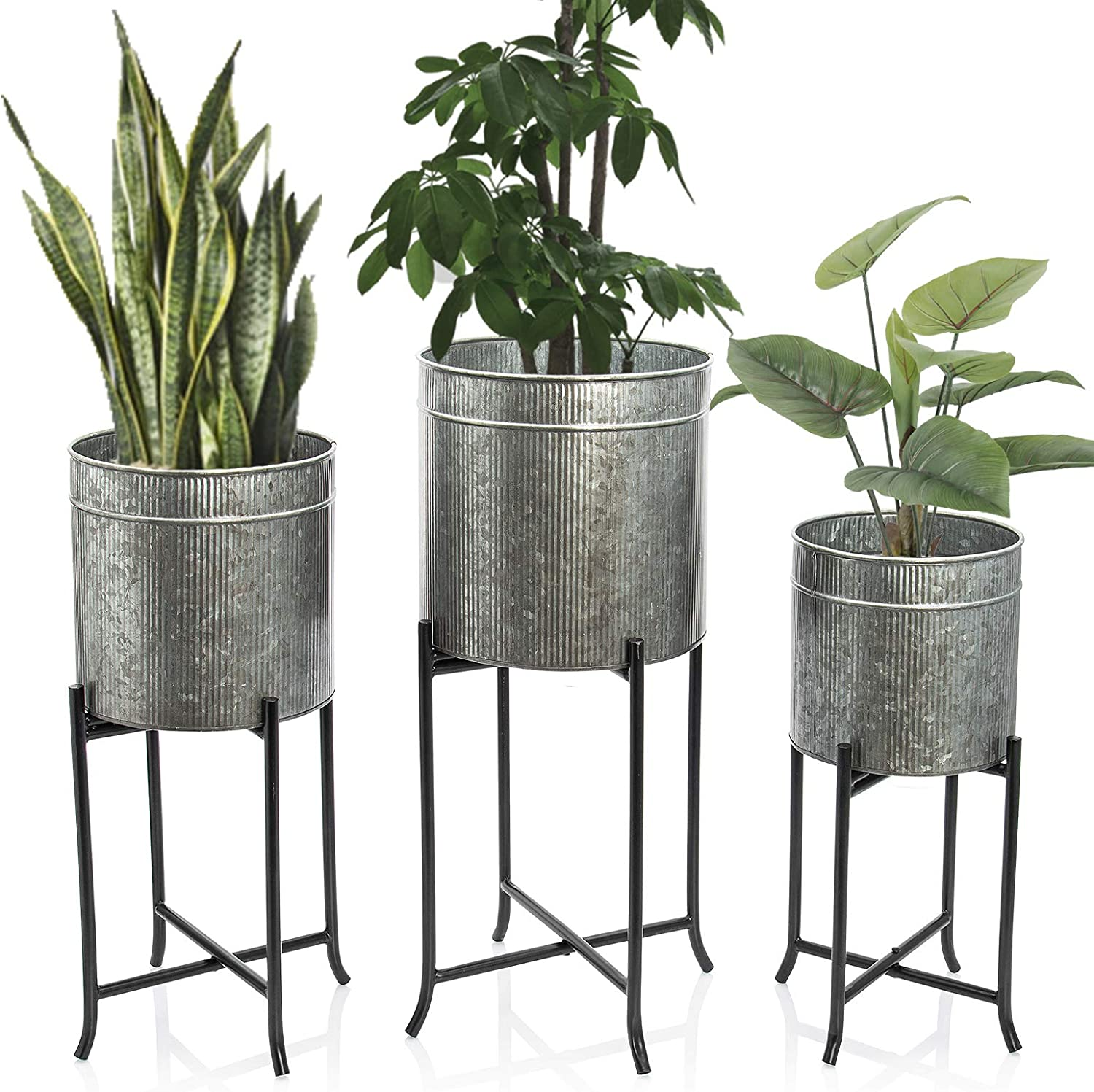 Set 3 Large Galvanized Planters Outdoor & Indoor, Metal Farmhouse Decor for Garden, Patio, Porch & Balcony, Pots with Stand and Drainage, Front Door Decorative Planting Container, Modern Rustic Decor