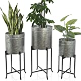 Set 3 Large Galvanized Planters Outdoor & Indoor, Metal Farmhouse Decor for Garden, Patio, Porch & Balcony, Pots with…