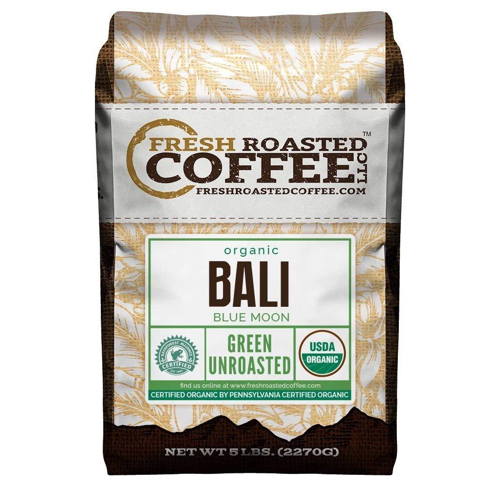 Fresh Roasted Coffee LLC, Green Unroasted Bali Blue Moon Coffee Beans, USDA Organic, RFA, 5 Pound Bag by FRESH ROASTED COFFEE LLC FRESHROASTEDCOFFEE.COM