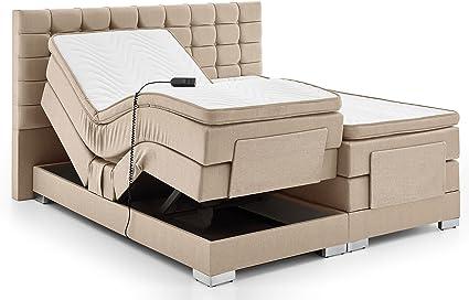 Cama con somier cama eléctrica ajustable 180 200 x 200 cm taschken Muelle Núcleo Doble Cama Matrimonio cama gris antracita Dublin, beige, 200 x 200 cm