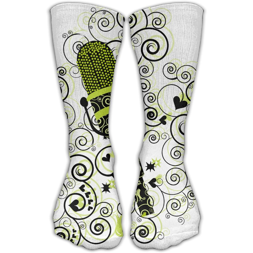 Protect Wrist For Cycling Moisture Control Elastic Sock Tube Socks Yellow Microphone Athletic Soccer Socks