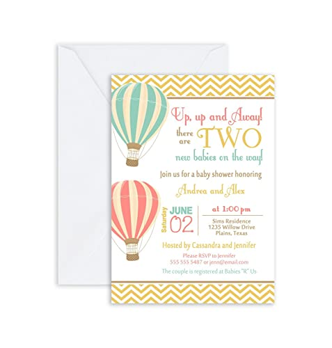 Amazon Printed Twin Hot Air Balloon Baby Shower Invitation