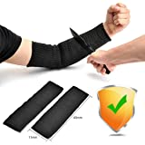 Arm Protection Sleeve, Ideapro Kevlar Sleeve 40cm Cut Resitant Burn Resistant Anti Abrasion Safety Arm Guard for Garden Kitchen Farm Work 1 Pair (Black)