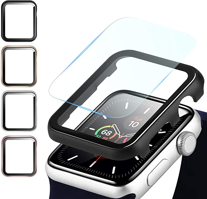 Fohuas Compatible Apple Watch Metal Case with Screen Protector, Bubble Free iPhone Watch Aluminum Protector Clear case Cover Hard PC Bumper (Black, Series 6 5 4 SE 40mm)