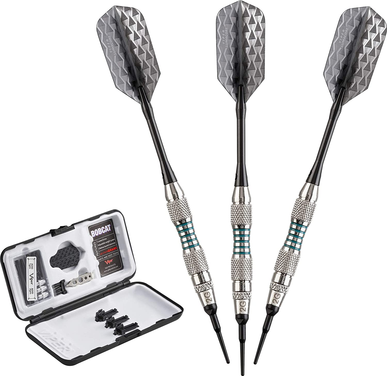 Viper Bobcat Adjustable Weight Soft Tip Darts with Storage/Travel Case Viper by GLD Products PR - 20-0912-16-P
