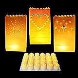 Pack 50 Linternas Decorativas Papel Blanco Diseño Corazón por Kurtzy - Decoración Centro de Mesa para Bodas y Cumpleaños- Linternas Grandes, Resistente al Fuego - Usa Velas de Té (Regular o LED)