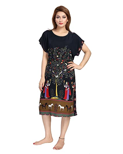 Be You Cotton Rayon Black Scenery Printed Kaftan Nighty for Women  Amazon.in   Clothing   Accessories fd9166a59