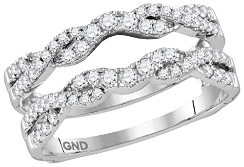 14k White Gold Round Diamond Ring Guard Wrap Solitaire Enhancer (1/2 Cttw)