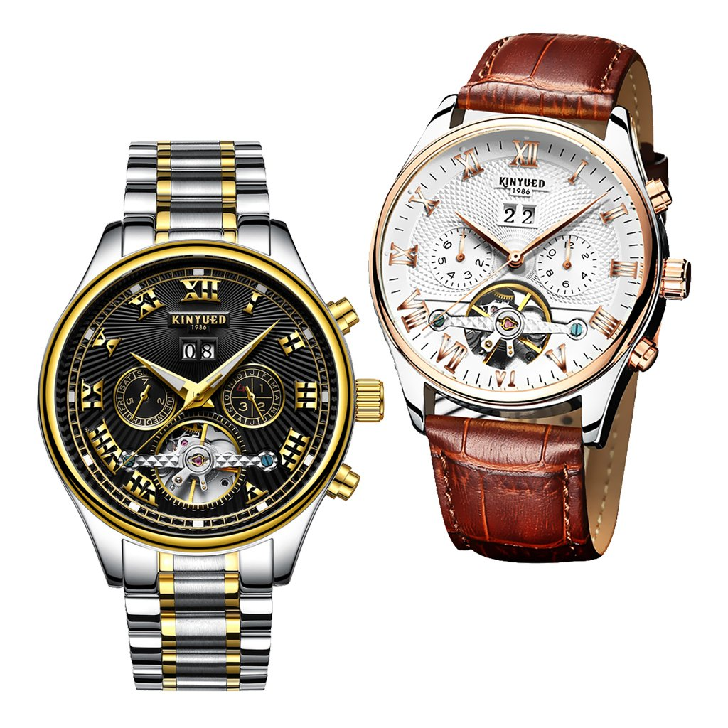 Dovewill 2 Pieces Luxury KINYUED Mens Auto Mechanical Watch Hollow Genuine Leather Waterproof by Dovewill