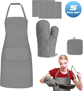 Kuaima Heat Resistant Non Slip Oven Mitts/Gloves Potholders Aprons Place Mats 5PCS Set,Soft Cotton Lining Surface,for Kitchen Safe BBQ Cooking Baking Grilling Outdoor Indoor Everyday