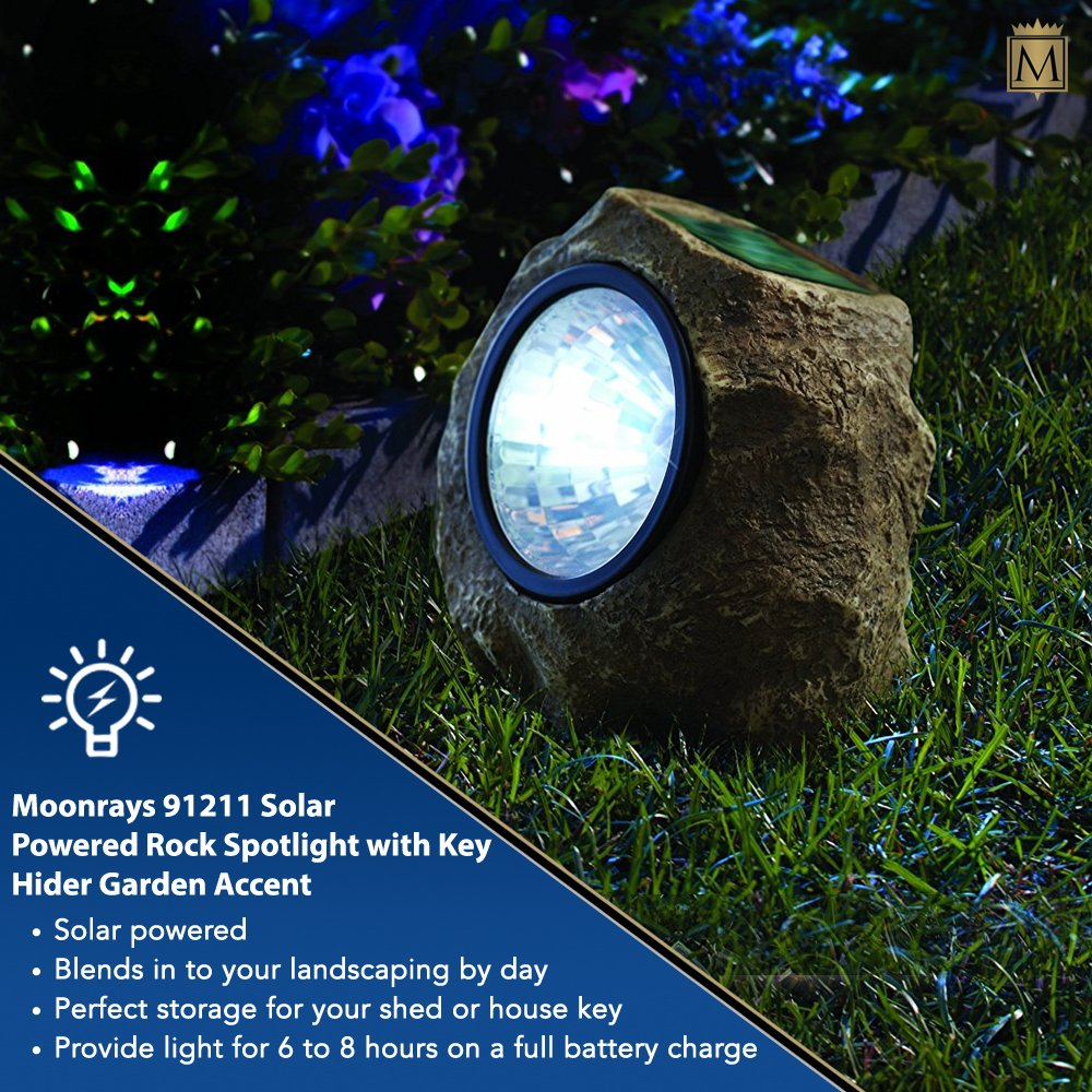 Moonrays 91211 Rock Solar Spotlight with Built in Key Hider, 6-Lumens.35-Watt, 120-degree Beam Angle, White LED Light, One Rechargeable NiCd Battery Included