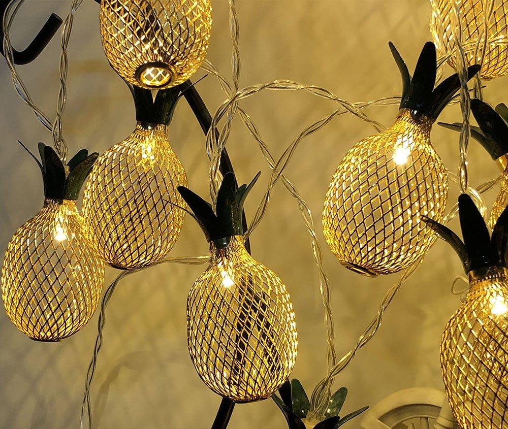 Viewpick Pineapple Decor Light 10ft 20 LED Warm White Fairy String Lights 2 Modes Battery Powered Lighting for Home Wedding Party Bedroom Birthday Christmas Decoration