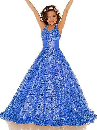 Bessdress Halter Flower Girl Dresses Full Sequins Beautiful Pageant Dresses BD090