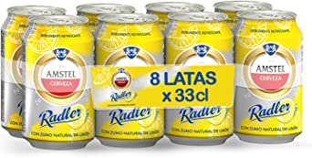 Amstel Radler Limon Cerveza - Pack de 8 x 330 ml -Total: 2.64 L ...