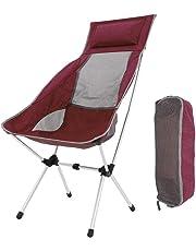 U-HOME Silla de Camping Plegable, Aluminio Ultraligero Sillas Plegables con Bolsa de Transporte Silla de Camping Plegable para Mochila, Senderismo, Camping