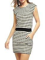 Allegra K Women's Stripes Contrast Waist Slant Pockets Mini Dress