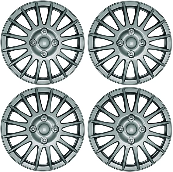 KIA PICANTO 13 Hurricane Car Wheel Trims Hub Caps Plastic Covers Silver