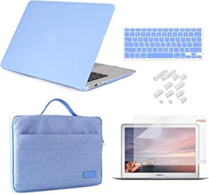 MacBook Air 13 Inch Case 2010-2017 Release Model A1369/A1466 Bundle 5 in 1, iCasso Hard Plastic Case, Sleeve, Screen Protector, Keyboard Cover & Dust Plug Compatible Old MacBook Air 13''-Serenity Blue