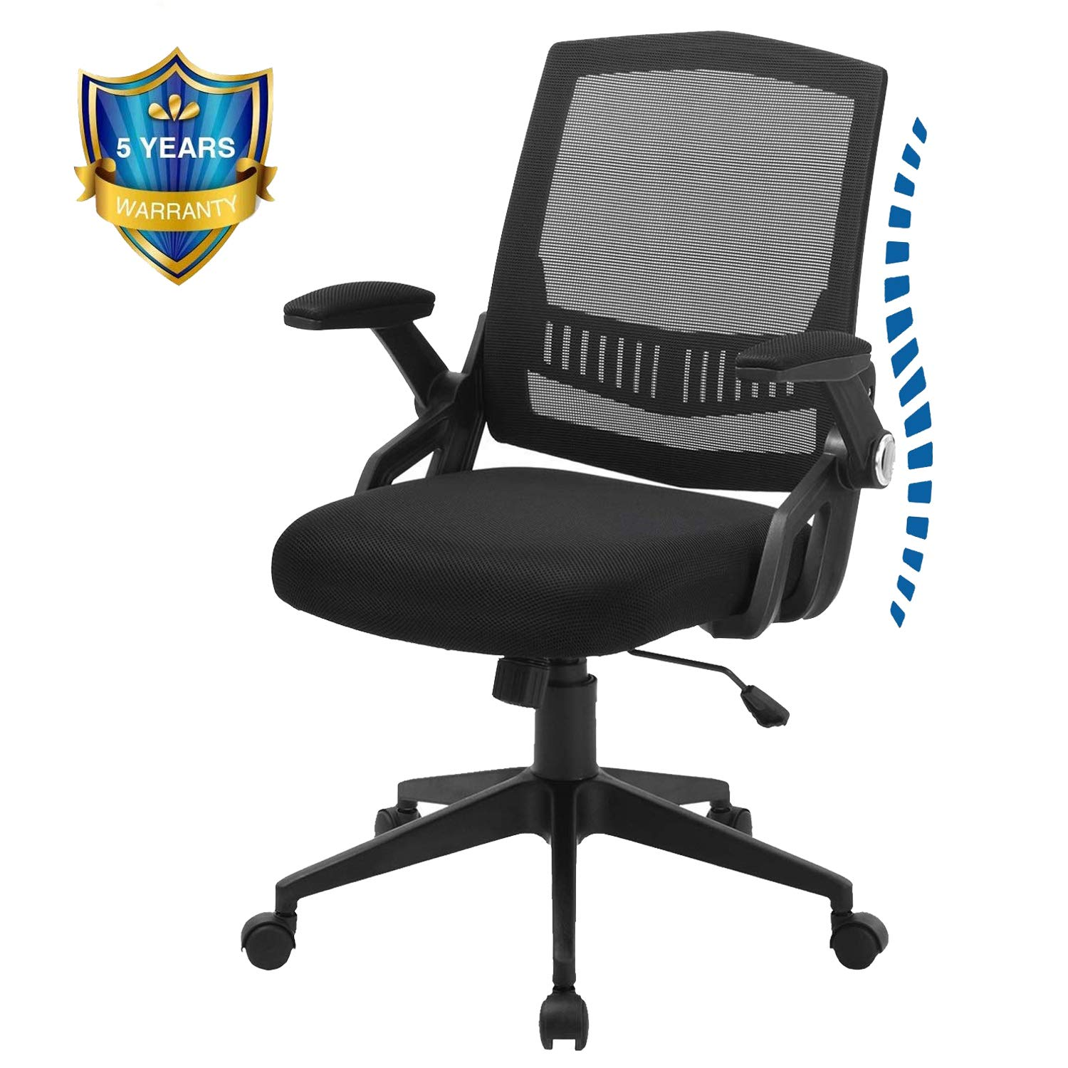 Office Chairs, ZLHECTO Mid-Back Computer Desk Chairs with Ergonomic Back, Swivel Task Chairs with Thick Cushion, Upgraded Huge Cushion Foam - Hold up to 300lbs, 5-Years Warranty …