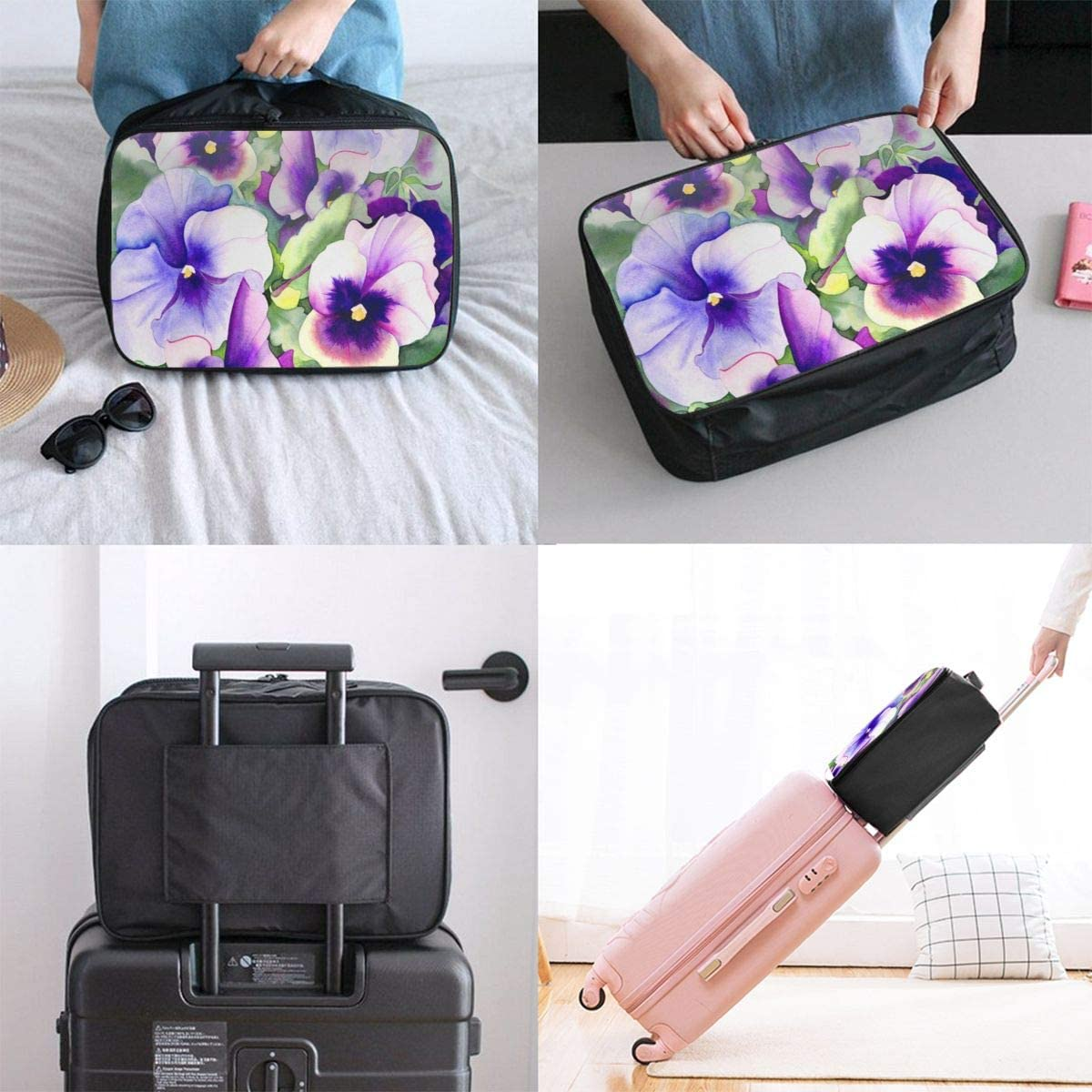 Pansy Perfection Travel Lightweight Large Capacity Portable Luggage Bag Suitcase