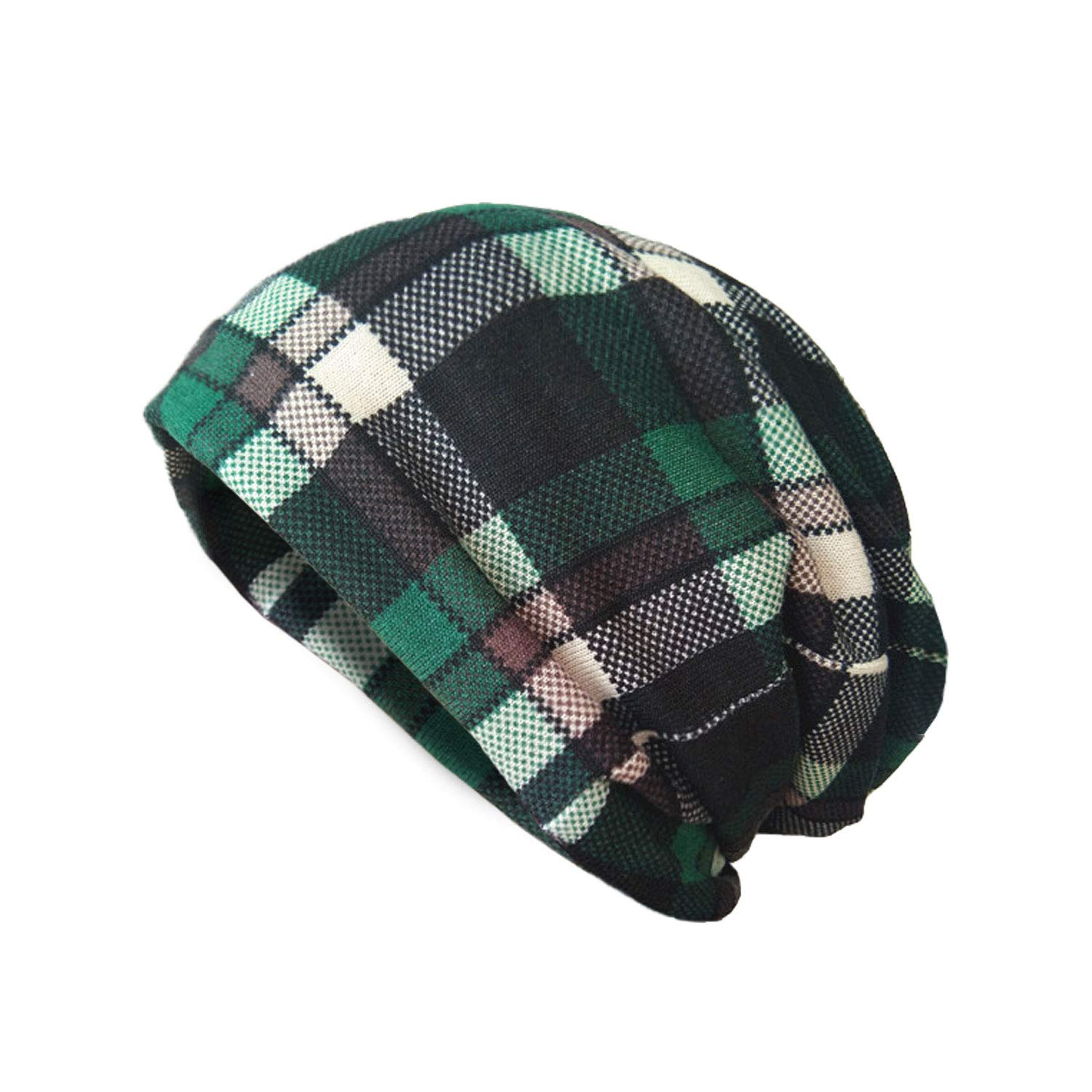 AVOIN colorlife Unisex St Patricks Day Green Plaid Beanie Hat 9b5586a0ca5