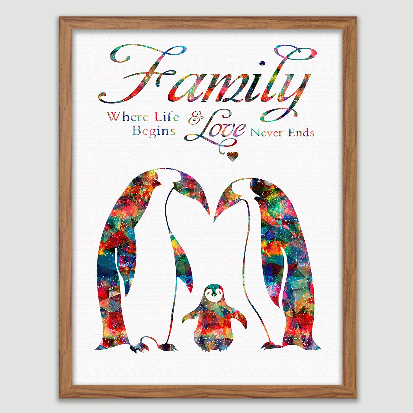 Penguin Family Quote Watercolor Print Family Wall Art Penguins Wall Decor Baby Shower Gift Wall Decor Art Home Decor Wall Hanging