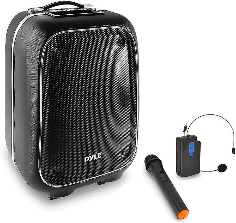 Pyle Portable PA Speaker and Microphone Kit - Bluetooth PA Speaker System with Karaoke Microphone, FM Radio, MP3/USB/Micro SD Readers