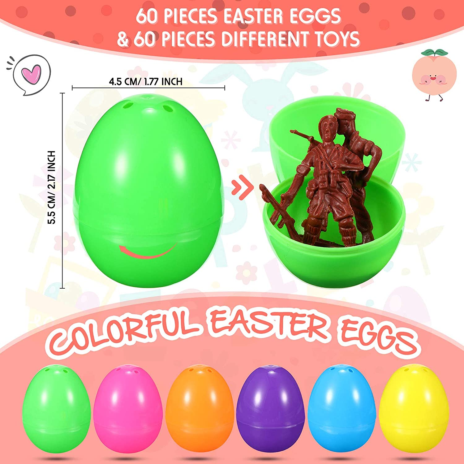 Carnival Prizes Skylety 60 Pieces Easter Eggs Toy Assortment Filled Eggs Plastic Surprise Eggs for Boys and Girls Birthday Party