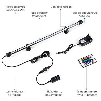 Amzdeal - Lámpara de acuario con 24 LED SMD 5050 impermeable, 48 cm y 4 modos, permutable, AC 100-240 V toma UE, iluminación para peces, color RGB, ...