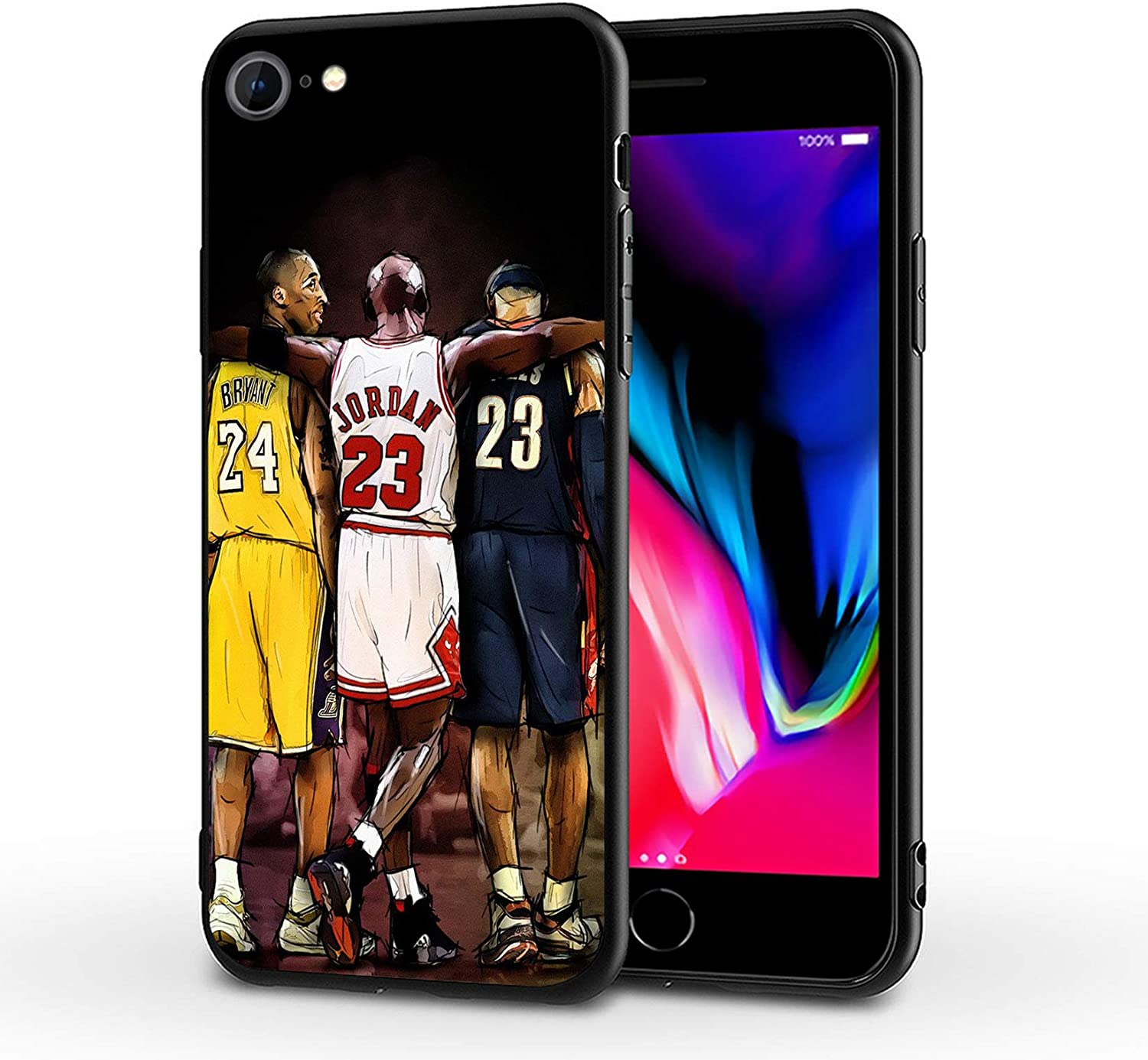 SUPTIIN iPhone SE 2020 Case iPhone 8 Case iPhone 7 Case,Basketball Star Protective Shockproof Anti-Scratch Soft Bumper Cover Cases (Kobe-MJ-Lebron)