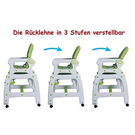 En Pour Avec Multi Beweglicher 3 Seelux Fonction BalançoireRoues 1 Haute FreinsRéglablevert Enfant Chaise EH92ID